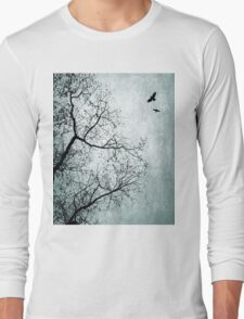 Design 24 Bird Tree Blue Long Sleeve T-Shirt