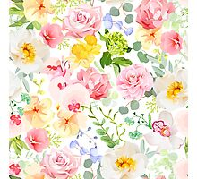 Multicolor floral seamless vector print with varied plants and flowers Photographic Print