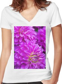Dahlia Mauve Exception  Women's Fitted V-Neck T-Shirt