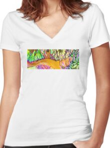 Wild Flowers Abstract Art - Sharon Cummings Women's Fitted V-Neck T-Shirt