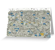 Illustrated map of Berlin-Mitte. Green Greeting Card