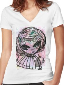 caged Women's Fitted V-Neck T-Shirt