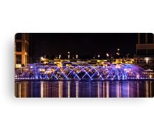 The Colored Water Fountain at night - Smart City, Malta Canvas Print