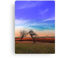 Trees, sunset, clouds, panorama and village | landscape photography Canvas Print