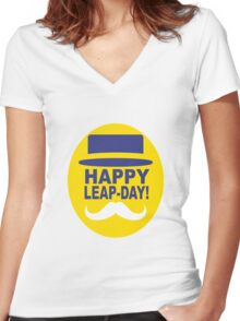HAPPY LEAP-DAY! Women's Fitted V-Neck T-Shirt