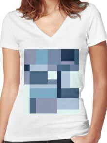 Abstract #387 Blue Harmony Women's Fitted V-Neck T-Shirt