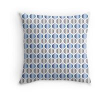Moroccan Blue and Silver Moorish Quatrefoil Diamond Pattern Throw Pillow