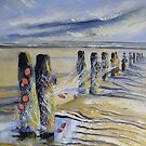 Groynes and Nets, Sandend by Sue Nichol