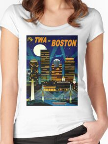 """""""TWA AIRLINES"""" Fly to Boston Advertising Print Women's Fitted Scoop T-Shirt"""