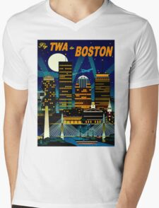 """TWA AIRLINES"" Fly to Boston Advertising Print Mens V-Neck T-Shirt"