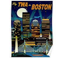 """TWA AIRLINES"" Fly to Boston Advertising Print Poster"