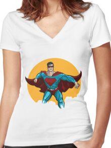Standing Superhero Illustration Women's Fitted V-Neck T-Shirt