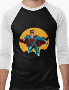 Standing Superhero Illustration Men's Baseball ¾ T-Shirt