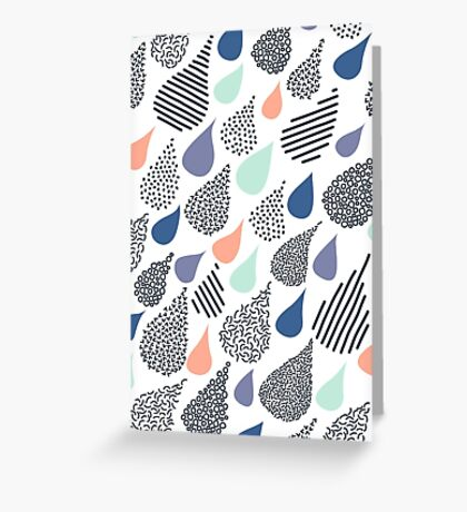 Playful Rain in White Greeting Card