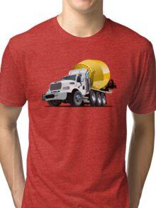 Cartoon Mixer Truck Tri-blend T-Shirt