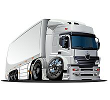 cartoon delivery / cargo semi-truck Photographic Print