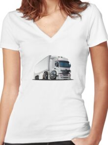 cartoon delivery / cargo semi-truck Women's Fitted V-Neck T-Shirt