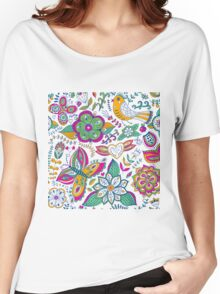 Colorful retro pattern with flowers butterflies and birds Women's Relaxed Fit T-Shirt