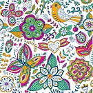 Colorful retro pattern with flowers butterflies and birds by artonwear