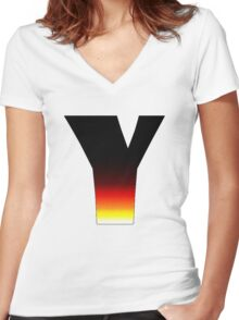 """""""Y"""" Letter Comic Book Style Women's Fitted V-Neck T-Shirt"""