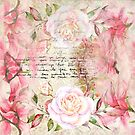 Romantic vintage wallpaper pink roses & love letters collage by artonwear
