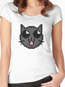 8 bit cat Women's Fitted Scoop T-Shirt