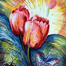 Tulips and butterfly by Harsh  Malik