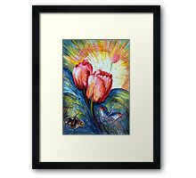 Tulips and butterfly Framed Print