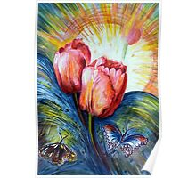 Tulips and butterfly Poster