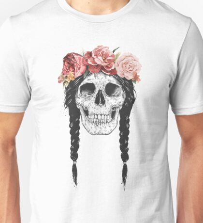Skull with floral crown Unisex T-Shirt