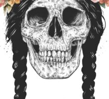 Skull with floral crown Sticker