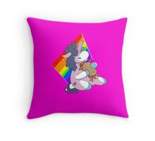 Pink Fluffy Unicorn eating Waffle Bacon Throw Pillow