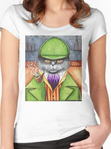 Sherlock Holmes, the British Shorthair Detective! Women's Fitted Scoop T-Shirt