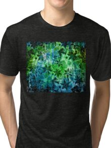 Green Vintage Flower Pattern Tri-blend T-Shirt