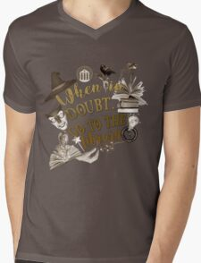 When in doubt, go to the library. Mens V-Neck T-Shirt