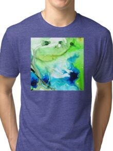 Blue And Green Abstract - Land And Sea - Sharon Cummings Tri-blend T-Shirt