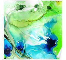Blue And Green Abstract - Land And Sea - Sharon Cummings Poster