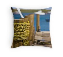 Rope on The Quay - British Coast And Beach  Throw Pillow