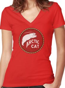 Vintage Arctic Cat Snowmobiles white bear Women's Fitted V-Neck T-Shirt