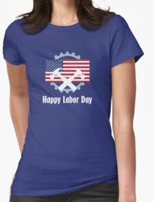Happy Labor Day Emblem Womens Fitted T-Shirt