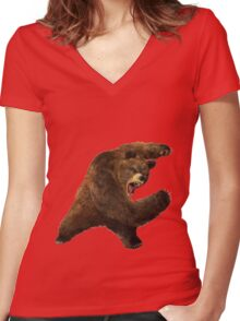 the bear1 Women's Fitted V-Neck T-Shirt