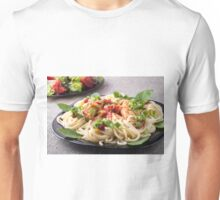 Homemade pasta with stewed chicken and vegetable salad closeup Unisex T-Shirt