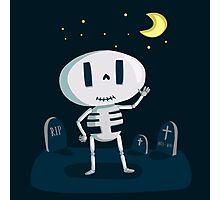 Skeleton in Graveyard Photographic Print