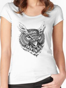 Ornate Owl Head Women's Fitted Scoop T-Shirt