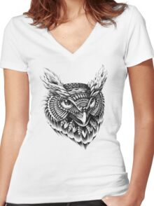Ornate Owl Head Women's Fitted V-Neck T-Shirt