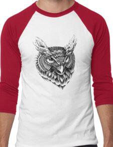 Ornate Owl Head Men's Baseball ¾ T-Shirt