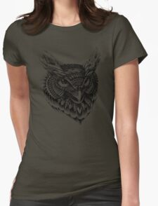 Ornate Owl Head Womens Fitted T-Shirt