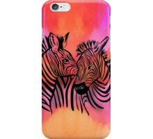 portrait of two zebras together iPhone Case/Skin