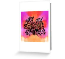 portrait of two zebras together Greeting Card