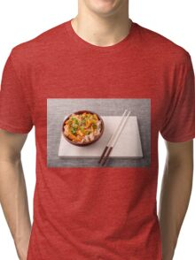 Asian dish of rice noodle and vegetable seasonings Tri-blend T-Shirt